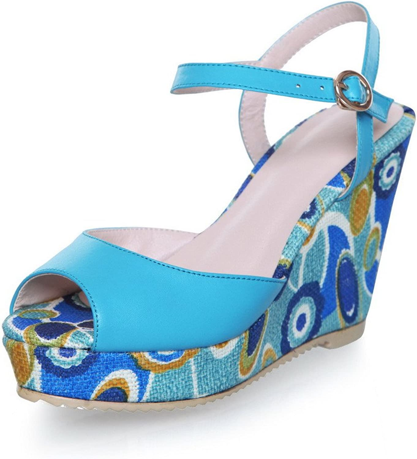 WeiPoot Women Peep Toe High Heel Wedge Cow Leather Soft Material Assorted colors Sandals, bluee, 7.5 B(M) US
