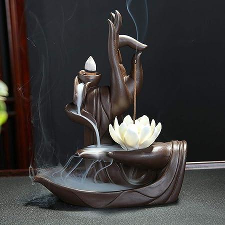 Verus Bruciatore di incenso di riflusso con Cono di incenso del riflusso di 10pcs, bruciatore Domestico del Supporto del Cono di incenso del riflusso di Ceramica (Loto)