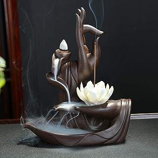 Brûleur d'encens Zen Lotus à contre-courant avec cône d'encens à contre-courant 10pcs, brûleur porte-cône d'encens à contr...
