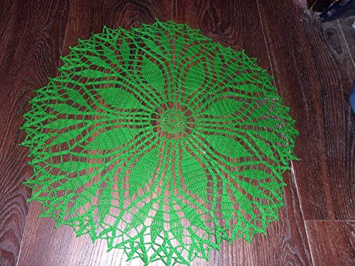 Handmade Doily in Green, Lace Centerpiece, Lace Tablecloth, Fern Leaf Design,19 inches