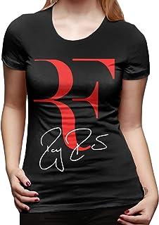 Roger Federer Maglietta da Donna a Manica Corta dal Fit Classico Maglietta a Manica Corta Maglietta Girocollo Top alla Moda