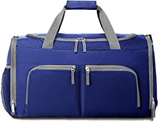 Packable Sports Gym Bag with Shoes Compartment, Foldable Waterproof Travel Luggage Duffel Bag for Men Women, Dark Blue (Dark Blue) - 190701-XJ-3570-Dark Blue