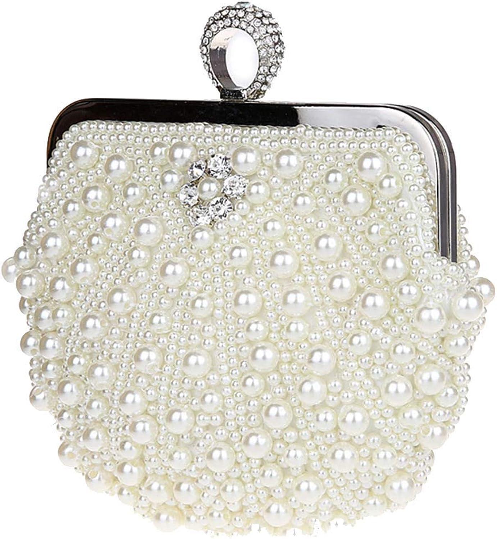 Soft Ladies Clutch Bag Handbag Glitter Faux Pearl Beaded Rhinestone Women Evening Bag Bridal Wedding Bag Prom Bag Purse Handbag (color   White)