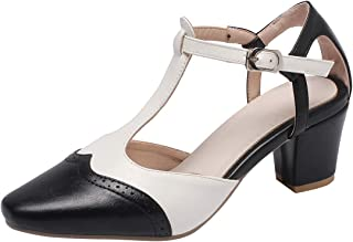 Artfaerie Womens T-Strap D'Orsay Chunky Heel Pumps Square Toe Leopard Print Block Mid Heel T-bar Court Shoes