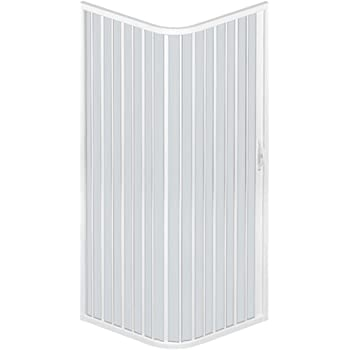 Mampara ducha en PVC con apertura angular con dos puertas plegables - 2 lados - 70 x 70 cm, H 185 cm - Blanco: Amazon.es: Hogar