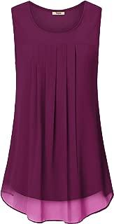 Women's Sleeveless Chiffon Tank Top Double Layers Casual Blouse Tunic