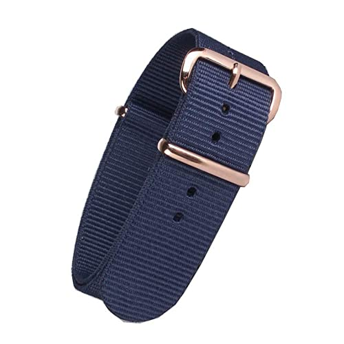 NATO Canvas Fabric Watch Straps Replacement with Exquisite Rose Gold Stainless Steel Buckle (Blue)