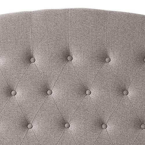 HOME BI Upholstered Tufted Button Curved Shape Linen Fabric Headboard Full/Queen Size, Grey