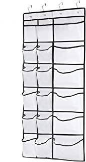 Kootek Over The Door Shoe Organizers, 12 Mesh Pockets + 6 Large Mesh Storage Various Compartments Hanging Shoe Holder Collection with 4 Hooks Shoes Organizer for Bathroom Closet Bedroom(59 x 21.6 in)