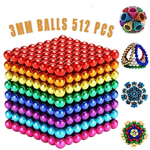 MBTRY 512 bolas pequeñas de juguete colorido DIY 3 MMBalls para ejercitar habilidades de pensamiento, aliviar el estrés, juguetes de escritorio de oficina para adultos