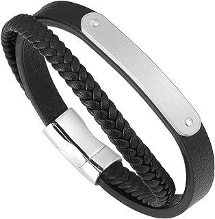 Sunligoo Mens Womens Braided Genuine Leather Bracelet Stainless Steel Magnetic Clasp Bangle Cuff Wrap Bracelets
