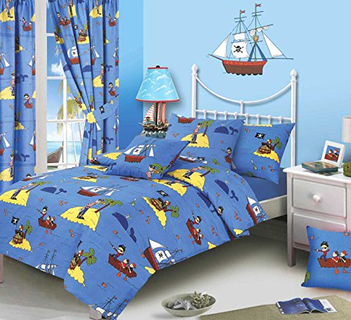 Single Bed Duvet Cover Set, Treasure Island, Pirates Whale Sea Ocean Fishes Ship Skull & Bones Parrot, Blue Yellow Black White Red