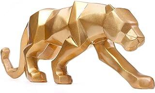 ZS ZHISHANG Statue de panthère géométrique d'art Moderne Modern Art Geometric Panther Statue Resin Leopard Sculptures for ...