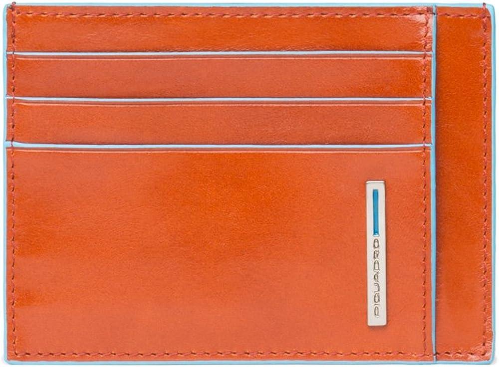 Piquadro, porta carte di credito in vera pelle, arancione PP2762B2A