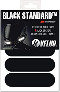 VFLUO BLACK STANDARD, 4 retro reflective stickers kit for motorbike Helmet, Night visibility, 3M Technology, Black