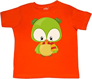 Cute Owl Wearing a Striped Scarf, Green Owl Toddler T-Shirt