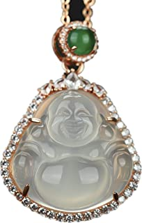 yigedan S 925 Silver White Gemstone Buddha Pendant Gold Jewelry Necklace