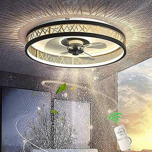 Ventilador con Luz y Mando A Distancia Silent, Lámpara De Techo Redondo, Ventilador Plafon Luces LED Regulable, Velocidad Del Viento y Temperatura De Color Regulables, Ahuecar, Oro Negro 40cm