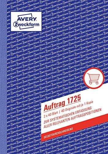 AVERY Zweckform 1725 Auftrag (A5, selbstdurchschreibend, 2x40 Blatt) weiß/gelb