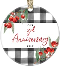 3rd Wedding Anniversary 2019 Christmas Ornament Third Year Wed Three 3 Years Married Couple Ceramic Keepsake Spouse Wife Husband Partner 3