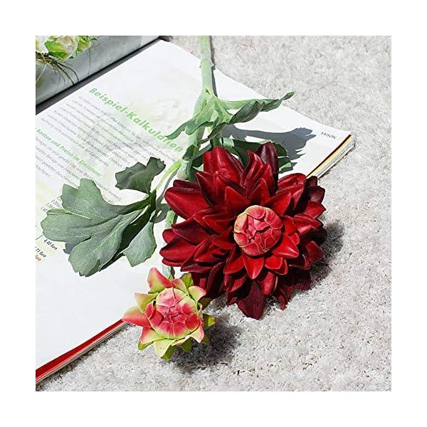 Telihome Dalia Rama Corta Flores Artificiales de Seda para la decoración de la Mesa de la Boda Mariage Flores…