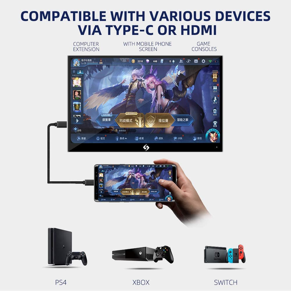Ever Lustre 15.6 Inch 4K Touch Portable Game Monitor with Type-C HDMI Input Build-in Speakers UHDDisplay for Laptop PS4 Switch Pro Xbox