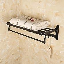 Space aluminium handdoekrek, beweegbare haak badkamer handdoekrek, wandmontage zwart handdoekenrek, badkamer handdoekenre...