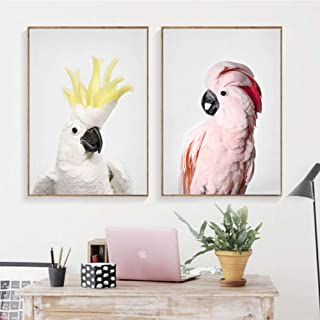 SANZH Cockatoo Wall Art Canvas Painting Nordic Posters and Prints Animal Nursery Wall Pictures for Living Room Decor-40X60Cmx2 Pcs No Frame