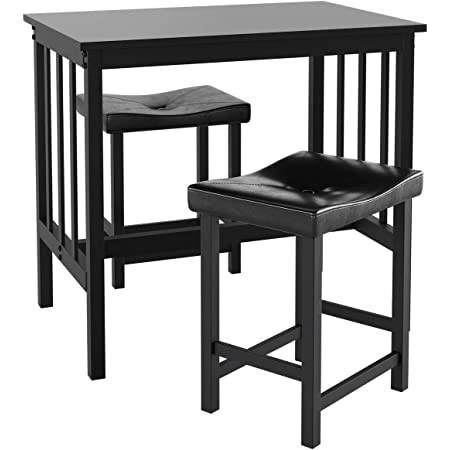 Giantex 3 Piece Dining Set Counter Height Table Set With Black Frosted Tabletop And Metal Frame For Kitchen Bar Or Apartment W 2 Faux Leather Backless Stools Compact Space Saving Design