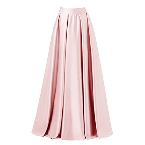 087d8d3f7 emondora Women High Waist Elastic Satin Flared Swing Maxi Skirt Pleat Prom  Gown