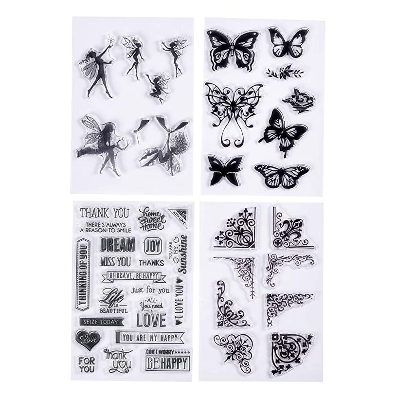 MaGuo 4 Sheets Clear Stamps Fairy,Butterfly,Blessing Words and Coner Decoration Versatile for Paper Crafts and DIY Scrapbooking