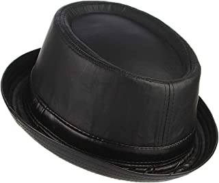 Unisex PU Leather Classic Pork Pie Hat Vintage Style Narrow Brim Crushable Black Porkpie Trilby Fedora Hat