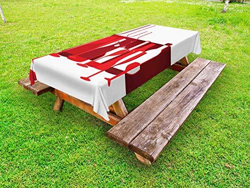 ABAKUHAUS Wijn Tafelkleed voor Buitengebruik, modern Abstract, Decoratief Wasbaar Tafelkleed voor Picknicktafel, 58 x 84 cm, Rood Bourgogne wit