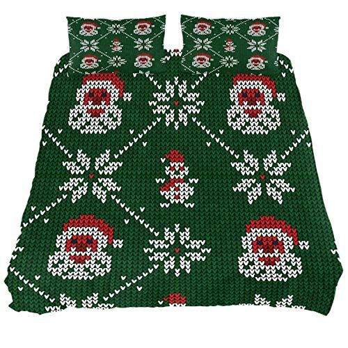 JlOn Microfiber Duvet Cover Set Zipper Closure Christmas Santa 2pcs Bedding Set Full Soft and Breathable