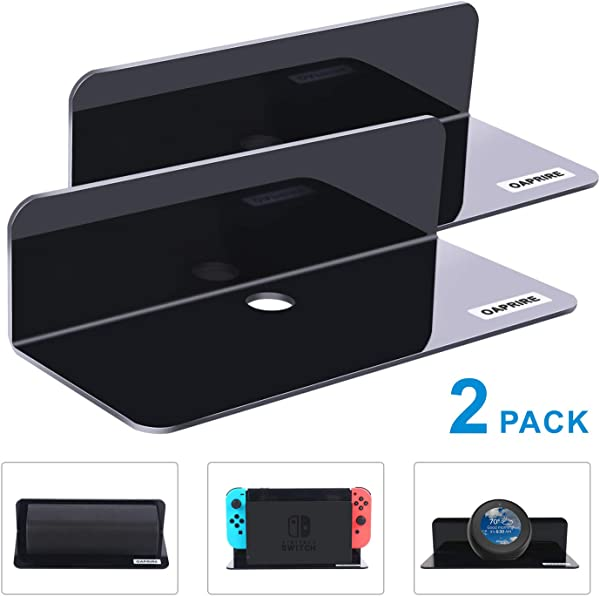 OAPRIRE Acrylic Floating Wall Shelves Set Of 2 Damage Free Expand Wall Space Small Display Shelf For Nintendo Switch Smart Speaker Action Figures With Cable Clips