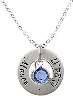 AJ's Collection Personalized Whimsical Heart Sterling Silver Necklace. Customize a Round Charm. Choice of Sterling Silver Chain. Perfect, Birthday Gift. Keep Special Name, Date Near Your Heart.