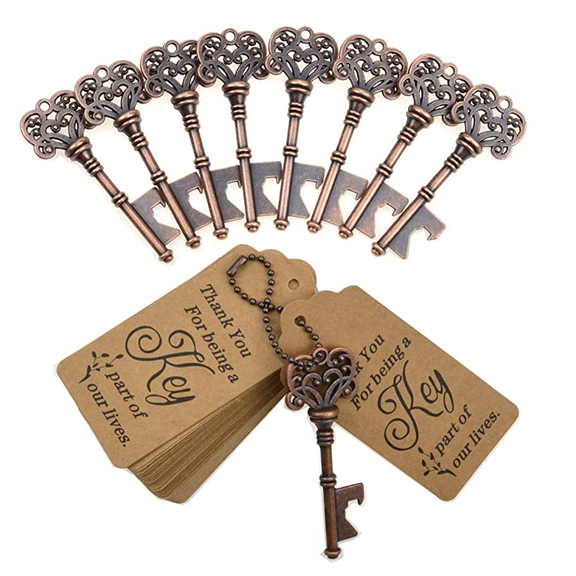 DerBlue 60 PCS Key Bottle Openers,Vintage Skeleton Key Bottle Opener, Wedding Favors Key Bottle Opener Rustic Decoration with Escort Tag Card (Copper-7)