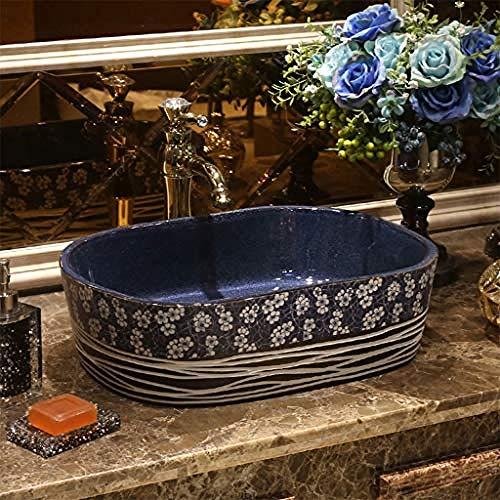 Gorheh Rechteckiges Waschbecken Retro Ceramic Hotel Anti-Spritz-Waschbecken Waschbecken