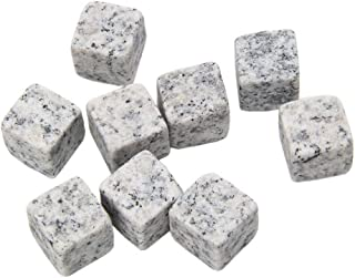 Whiskey Stones, Beverage Chill Rocks, Chilling Stones for Whiskey with Velvet Carrying Pouch, Set of 9, JADACA (Grey)