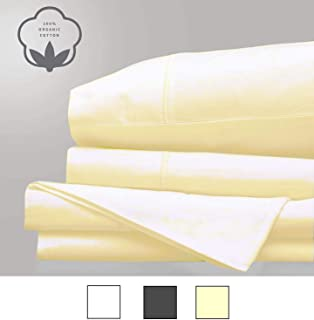 Linenwalas Percale Sheets - 100% Organic Cotton -Certified -Extra Crispy (Queen,Ivory)