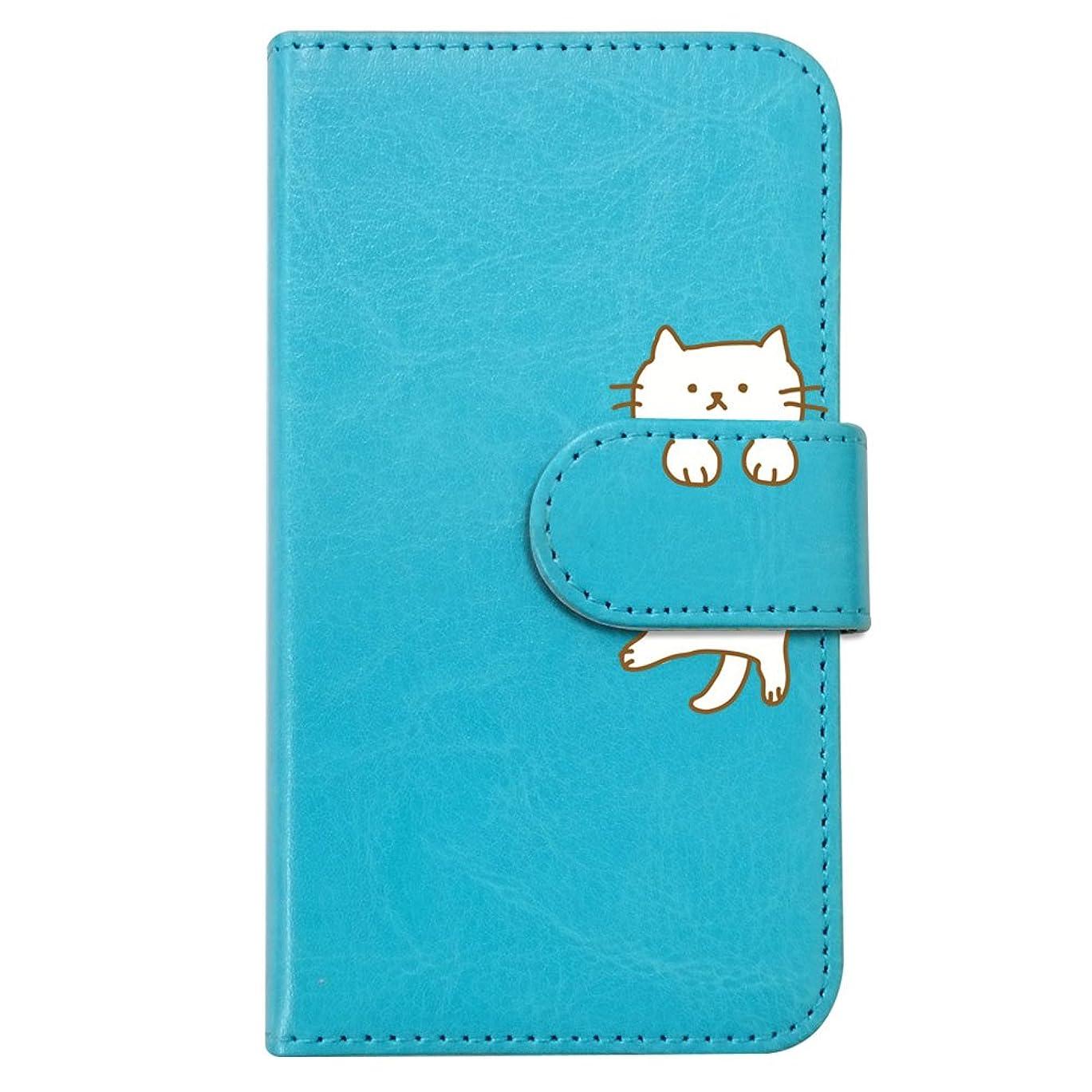 アシストスピリチュアルよろしく【moimoikka】 iPod touch6 アイポッドタッチ6 手帳型 スマホ ケース ねこ 動物 キャラクター かわいい (ブルー) 猫 アニマル ダイアリータイプ 横開き カード収納 フリップ カバー スマートフォン モイモイッカ もいもいっか sslink