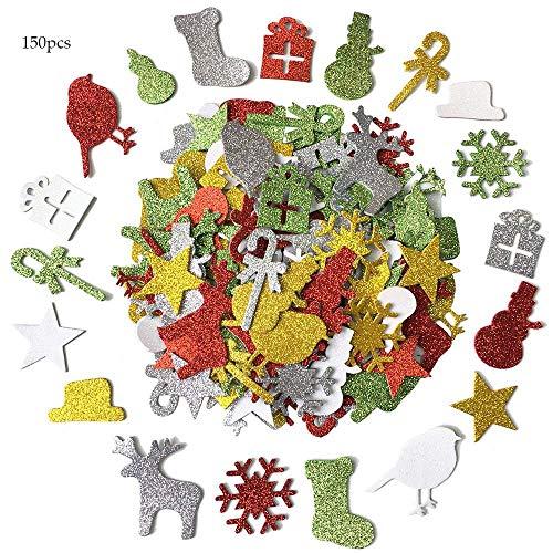 クリスマスシート 150枚 グリッター シール キラキラ 可愛い 知恵教育 家庭、学校 デコレーション