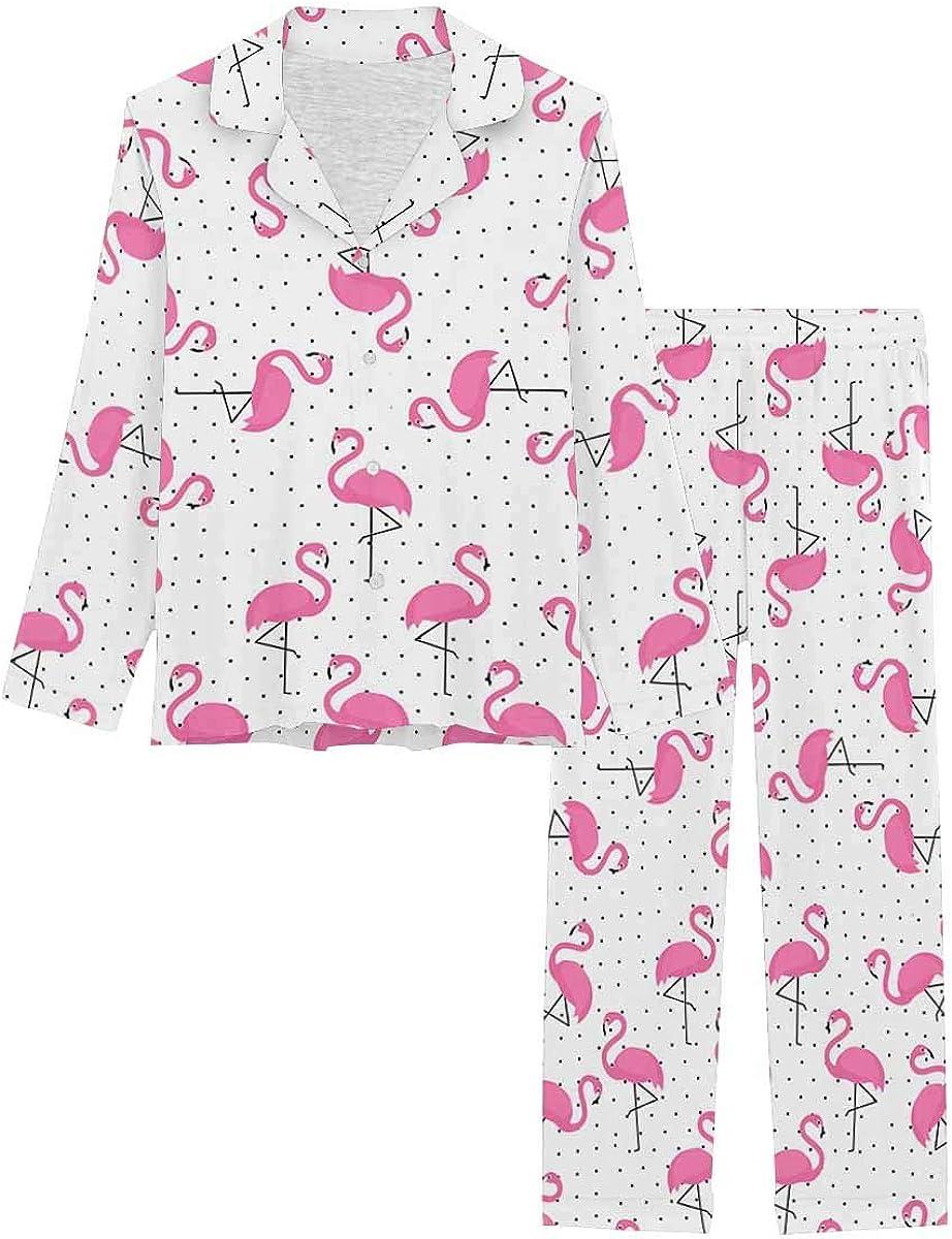 InterestPrint Long Sleeve Nightwear Button Down Loungewear for Women Pink Flamingo on Polka Dots