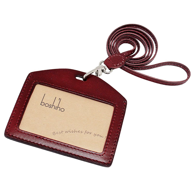 Boshiho IDカードホルダー 本革 栃木レザー ヌメ革 日本製 ネックストラップ 横型 縦型 背面ポケット付き 12月品質保証 四色
