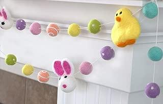 "Bunnies & Chicks Easter Spring Felt Garland- Bright Rainbow- 1"" (2.5 cm) Wool Felt Balls"