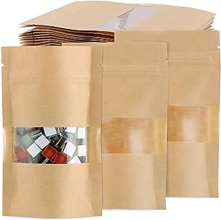 TsunNee Lot de 100 sacs alimentaires en papier kraft avec fenêtre transparente, 9 x 14 cm
