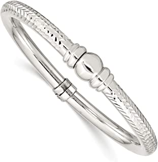 925 Sterling Silver Textured Hinged Bangle Bracelet Cuff Expandable Stackable Fine Jewelry For Women