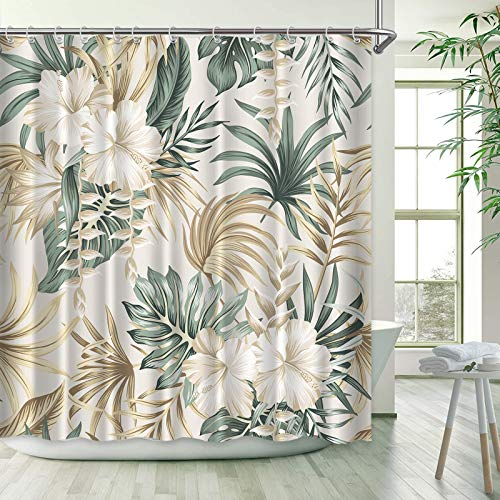 Tropical Shower Curtain for Summer Bathroom Decorative, Sage Green Palm Leaf Hibiscus Flower Bath Curtains Set with Hooks Beige Fabric, 72x72 Inches