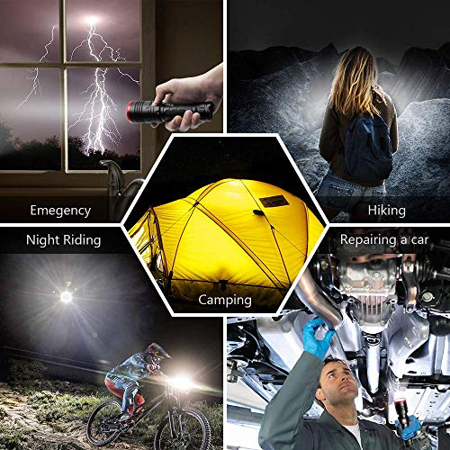 Wsky Rechargeable LED Tactical Flashlight, S3000E High Lumens USB Flashlight with 5 Modes, Zoomable, Water Resistant, Perfect for Biking, Camping, Hiking, Emergency, Battery Not Included