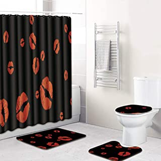 Amaae 4PCS Non Slip Toilet Polyester Cover Mat Set Bathroom Shower Curtain(Color:Multicolor & Material:Polyester fiber)